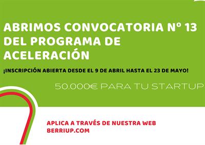 13ª convocatoria de Berriup para startups